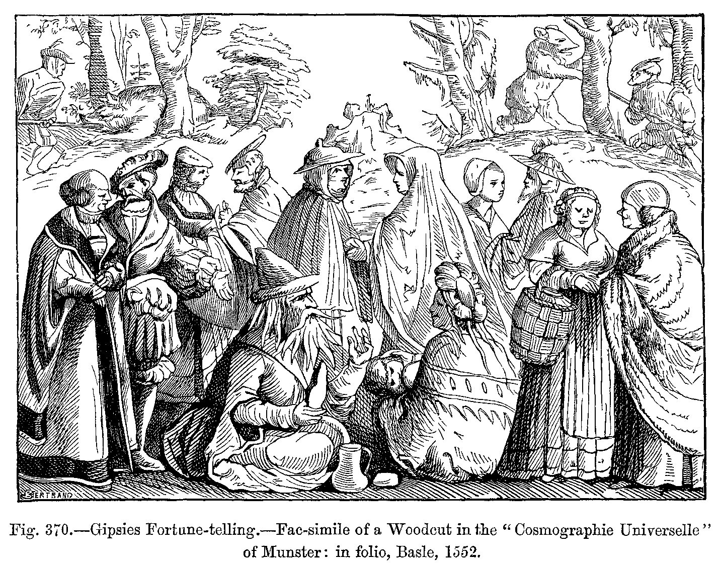 Gipsies_Fortune_telling_Fac_simile_of_a_Woodcut_in_the_Cosmographie_Universelle_of_Munster_in_folio_Basle_1552
